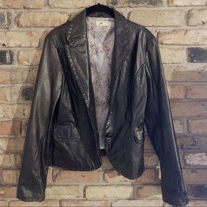 Anthropologie June Brown Leather Jacket Distressed